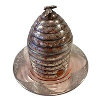 Silver Overlay on Pale Cranberry Glass Honey Pot or Jar with Bee Finial and Underplate