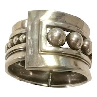 Margot de Taxco Bracelet Clamper Style in Sterling Silver - Beaded