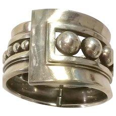 Margot de Taxco Bracelet Clamper Style in Sterling Silver - Beaded