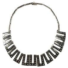Margot de Taxco Black Enamel with Dots Sterling Silver Necklace