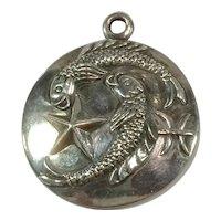 Margot de Taxco Pisces, the Fish, Zodiac Sterling Silver Pendant/Charm