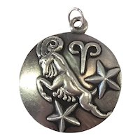 Margot de Taxco Aries, the ram, Zodiac Sterling Silver Pendant/Charm