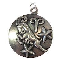 Margot de Taxco Aries, the ram, Zodiac Sterling Silver Pendant/Charm
