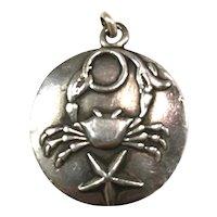 Margot de Taxco Cancer, the Crab, Zodiac Sterling Silver Pendant/Charm