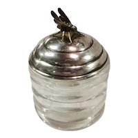 Sterling Silver and Molded Glass Honey Pot/Jar
