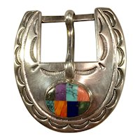 Sterling Silver with Inlay Stones, Navajo Belt Buckle Set
