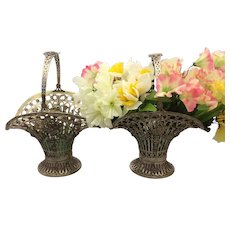 Pair of Silver Flower Baskets Circa 1900 From Germany