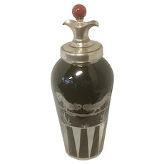 Silver Overlay on Black Amethyst Glass Cocktail Shaker with Red Bakelite Finial/Stopper