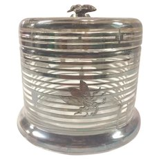 Silver Overlay on Glass Honey Pot or Jar with Bee Finial