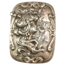 Sterling Silver Match safe or Vesta with a Woman Smoking
