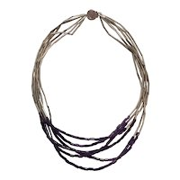 William Spratling Sterling (Spratling) Silver and Amethyst Tube Bead Necklace