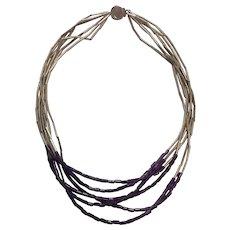 William Spratling Sterling (Spratling) Silver and Amethyst Tube Bead Necklace