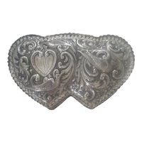 Sterling Silver William Comyns Double Heart Jewelry Casket/Box from London, England - 1886