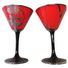 Set of Four (4) High Art Deco Silver Overlay Cocktail Glasses