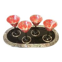Silver Overlay Tango Cocktail Glasses with Tray