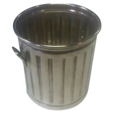 Sterling Silver Trash/Garbage Can Toothpick Holder