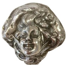 Unger Brothers Sterling Silver Large Pin/Brooch Bonnet Lady/Woman