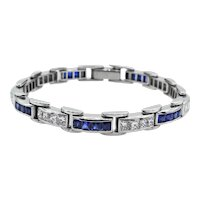 Vintage 9.10ct Princess Diamond Sapphire Tennis Channel set Bracelet Platinum