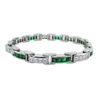 Vintage 9.10ct Princess Diamond Green Emerald Tennis Channel set Bracelet Platinum