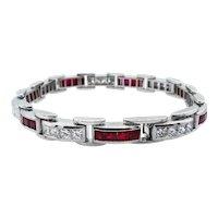 Vintage 9.10ct Princess Diamond Ruby Tennis Channel set Bracelet Platinum