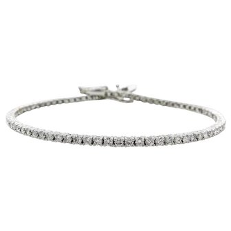 Vintage 2.50ct Round Diamond Tennis Bracelet in 14k White Gold