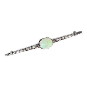 2.48ct Antique Vintage Edwardian Opal and Rose cut Diamond Silver Brooch Bar-Pin