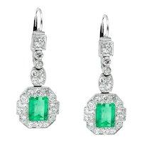 Art Deco GIA 4.80ct Untreated Natural Colombian Green Emerald Diamond Drop Dangle Platinum