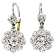 Victorian 3.50ct Old European Diamond Drop Earrings 14k Yellow Gold EGL USA