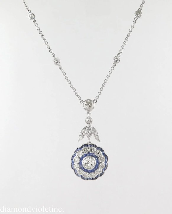 402ct vintage diamond and sapphire cluster pendant necklace in 402ct vintage diamond and sapphire cluster pendant necklace in 18k white gold mozeypictures Image collections