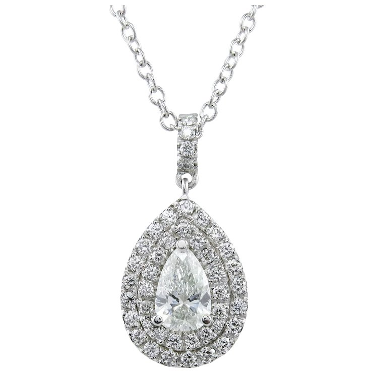 diamond de cut aura pendant gold white pear beers