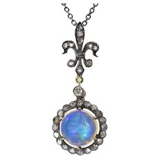 Vintage 1.57ct Crystal Opal Diamond Pendant Necklace in Blackened Silver