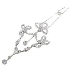 Vintage 2.46ct Old European Diamond Pendant Necklace Platinum
