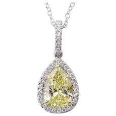 Vintage GIA 2.55ct Fancy Yellow Pear Diamond Platinum 18k Yellow Gold Pendant Necklace