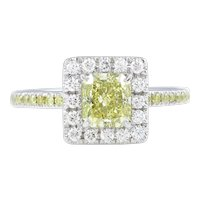 Vintage GIA 1.55ct Fancy Yellow Radiant Diamond Engagement Platinum Ring