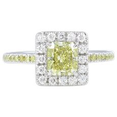 Vintage GIA 1.55ct Fancy Yellow Radiant Diamond Engagement Platinum Ring