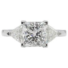 Vintage 2.61ct Princess Diamond Three Stone Engagement Platinum Ring