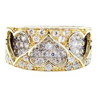Estate Vintage CZ Heart Wedding Anniversary Ring Band 9k