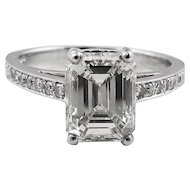 Vintage 2.31ct Emerald Cut Diamond Engagement Platinum Ring