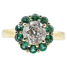 Vintage 1.82ct Old European Diamond Cluster Engagement 18k Yellow Gold Ring
