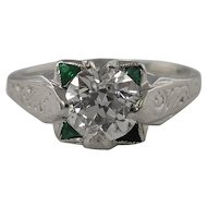 Art Deco 1.34ct Solitaire Old Euro Diamond Engagement 14k White Gold Ring EGL USA