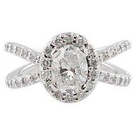 Vintage 1.55ct Oval Diamond Engagement 14k White Gold Ring EGL USA