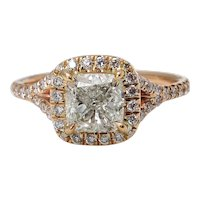 Vintage GIA 1.84ct Cushion Diamond Engagement 14k Rose Gold Halo Ring