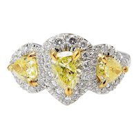 Vintage GIA 2.58ct Yellow Pear Diamond Three Stone Engagement Platinum Ring
