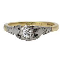 Victorian 0.16ct Diamond Solitaire Engagement 18k Yellow Gold Platinum Ring