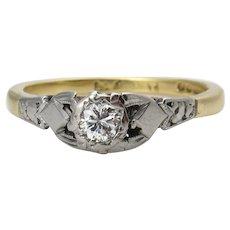 Victorian 0.16ct Diamond Solitaire Engagement 18k Yellow Gold Platinum Ring