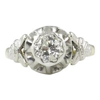 0.38ct Vintage Art Deco Old European Diamond Solitaire Engagement 18k Yellow Gold Platinum Ring