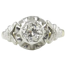 0.38ct Vintage Art Deco Old European Diamond Solitaire Engagement 18k Yellow Gold Platinum Ring