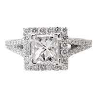 Vintage GIA 1.48ct Princess Diamond Engagement 18k White Gold Ring E VS1