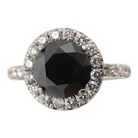 Vintage 3.00ct Fancy Black Round Diamond Engagement 18k White Gold Ring EGL USA