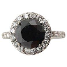 Vintage 3.00ct Fancy Black Round Diamond Engagement 18k White Gold Ring EGL USA